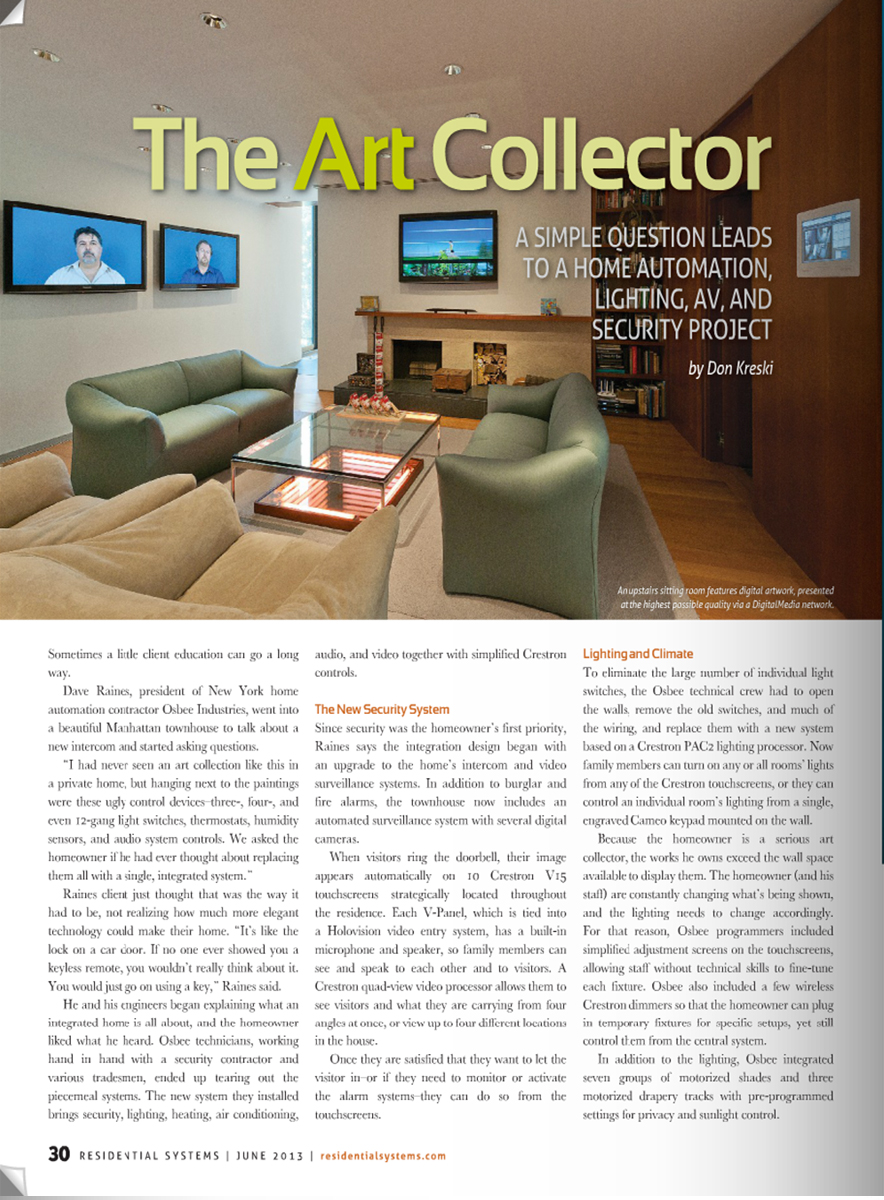 Residential Systems - The Art Collector's Townhouse