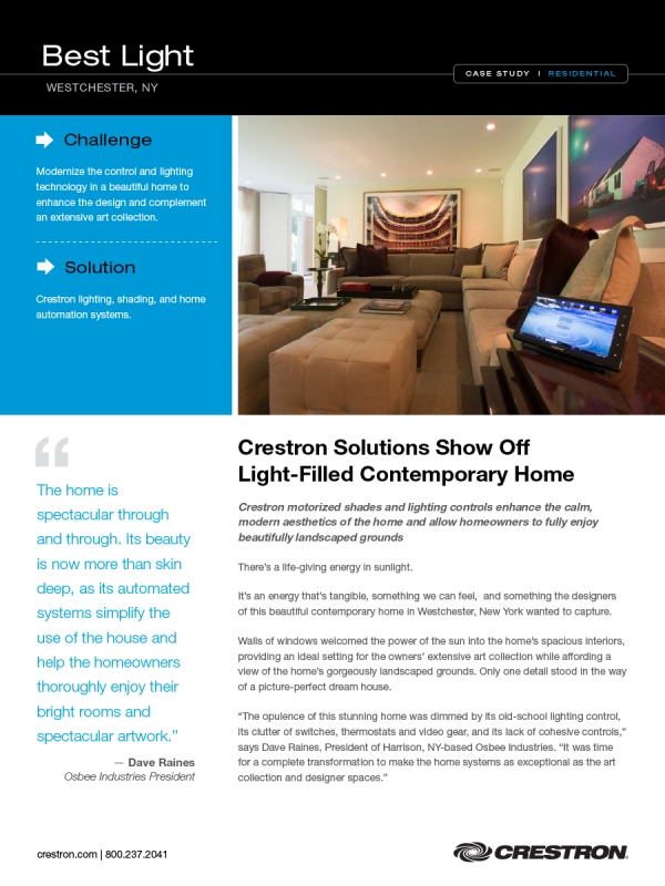 Crestron Case Study of Osbee Project featuring lighting automation
